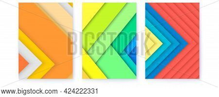 Set Of Covers In Trendy Colors. Abstract Geometric Pattern With Randomly Arranged Sheets Of Paper. M