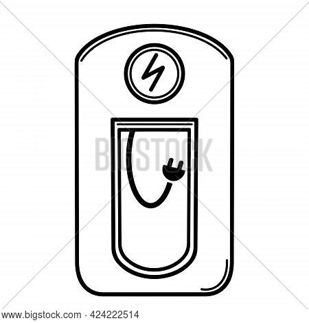 Electric Car Charging Station. Eco-friendly Gas Station Vector Icon. Car Battery Charging. Isolated