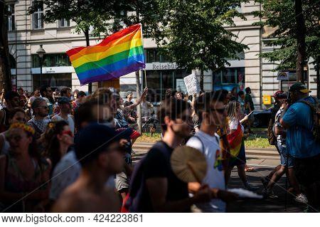 Vienna, Austria - June 19, 2021: People At Vienna Pride On Wiener Ringstrasse