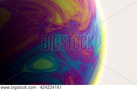 Colorful Planet With Black Background, 3D Rendering.