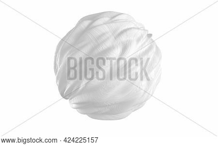 A Sphere Of Flowing Creativity With White Background, 3D Rendering.