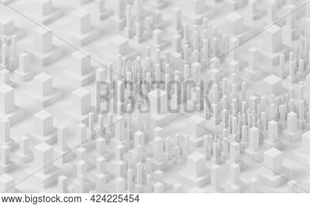 Technological Cubes With White Background, 3D Rendering.