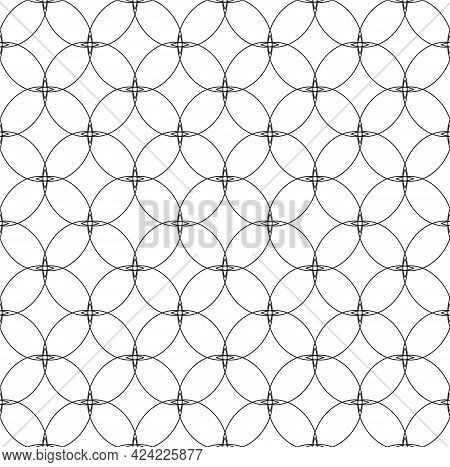 Seamless Vector Monochrome Pattern Of Geometric Shapes, Lines, Circles And Rhombuses.abstract Seamle