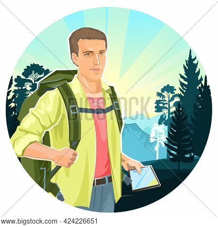Cute Boy Tourist With A Tablet Navigator. Backpack. Against The Backdrop Of A Beautiful Landscape. M