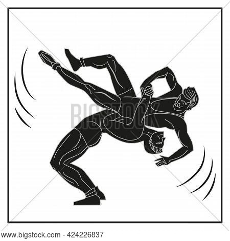 The Silhouette Of Two Wrestlers Performing Suplex. Symbol Of Wrestling And Sport. Vector Illustratio