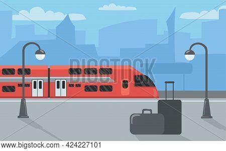 Modern Train At Station Or At Platform. Cartoon Vector Illustration. Red High-speed Train Arriving O