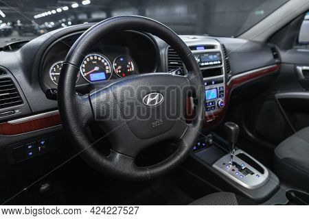 Novosibirsk, Russia - June 19, 2021:hyundai Santa Fe, Car Interior - Dashboard, Player, Steering Whe