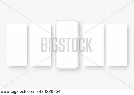 Clay Phone With Blank Screen And Social Media Posts Carousel Template. Vector Illustration