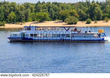 Kiev, Ukraine - July 28, 2018: Tourist Ship Sailing On The Dnieper River In Kiev