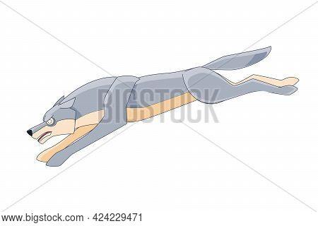 Big Wolf Runs After Its Prey. Cartoon Character Of A Dangerous Mammal Animal. A Wild Forest Creature