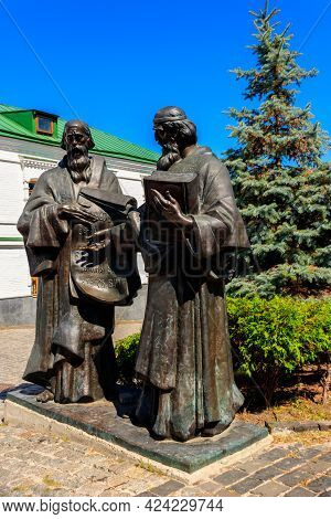 Kiev, Ukraine - August 24, 2019: Monument Of Saints Cyril And Methodius In Kyiv Pechersk Lavra (kiev