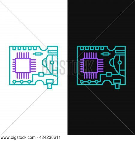 Line Printed Circuit Board Pcb Icon Isolated On White And Black Background. Colorful Outline Concept