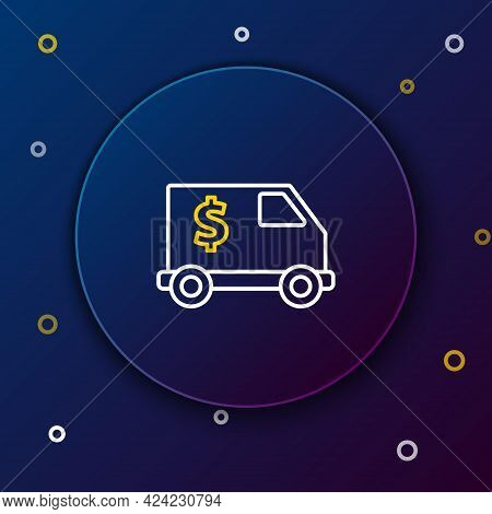 Line Armored Truck Icon Isolated On Blue Background. Colorful Outline Concept. Vector