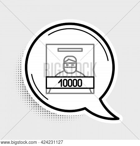 Line Wanted Poster Icon Isolated On Grey Background. Reward Money. Dead Or Alive Crime Outlaw. Color