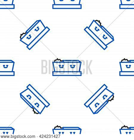 Line Open Coffin With Dead Deceased Body Icon Isolated Seamless Pattern On White Background. Funeral