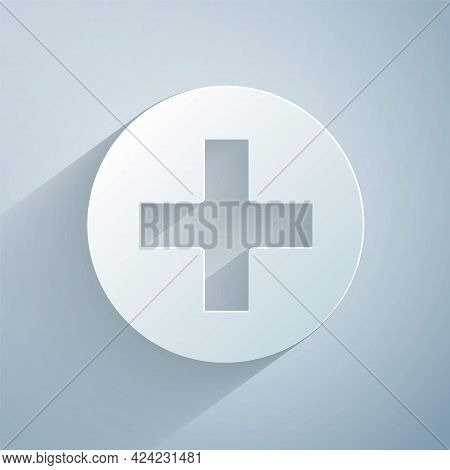 Paper Cut Cross Hospital Medical Icon Isolated On Grey Background. First Aid. Diagnostics Symbol. Me