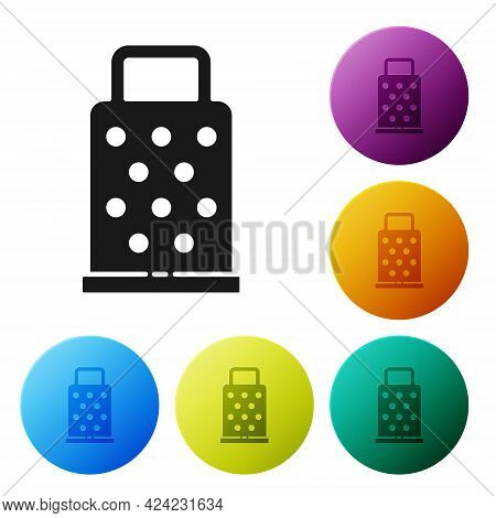 Black Grater Icon Isolated On White Background. Kitchen Symbol. Cooking Utensil. Cutlery Sign. Set I