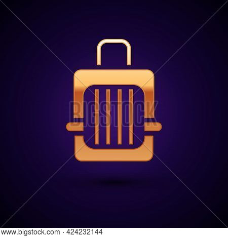 Gold Pet Carry Case Icon Isolated On Black Background. Carrier For Animals, Dog And Cat. Container F