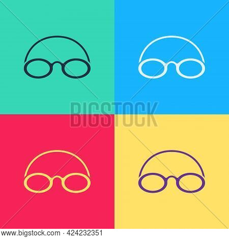 Pop Art Glasses And Cap For Swimming Icon Isolated On Color Background. Swimming Cap And Goggles. Di