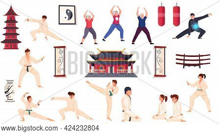 Martial Arts Flat Set Of People In Sport Wear Practicing Karate Kung Fu Judo Qigong Isolated Vector