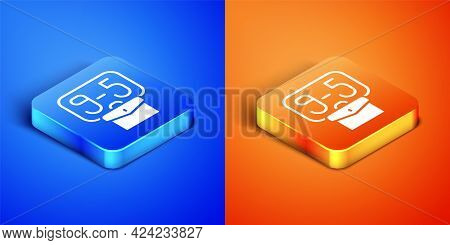 Isometric From 9:00 To 5:00 Job Icon Isolated On Blue And Orange Background. Concept Meaning Work Ti
