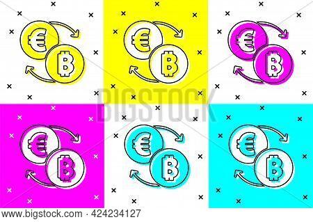 Set Cryptocurrency Exchange Icon Isolated On Color Background. Bitcoin To Euro Exchange Icon. Crypto