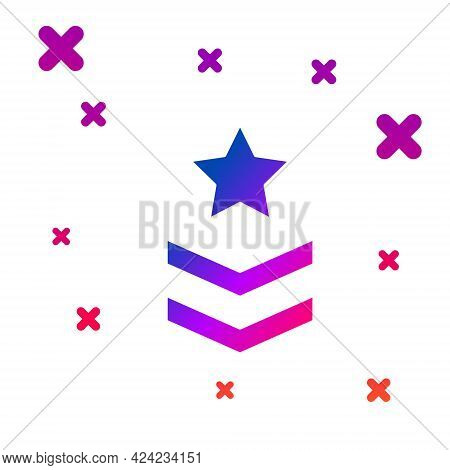 Color Military Rank Icon Isolated On White Background. Military Badge Sign. Gradient Random Dynamic