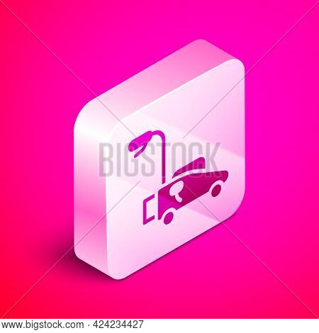 Isometric Lawn Mower Icon Isolated On Pink Background. Lawn Mower Cutting Grass. Silver Square Butto