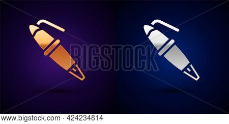 Gold And Silver Fountain Pen Nib Icon Isolated On Black Background. Pen Tool Sign. Vector