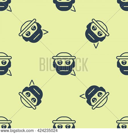 Blue Bandit Icon Isolated Seamless Pattern On Yellow Background. Vector