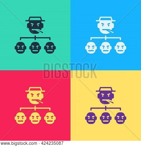 Pop Art Mafia Icon Isolated On Color Background. Boss And Gangsters. Vector