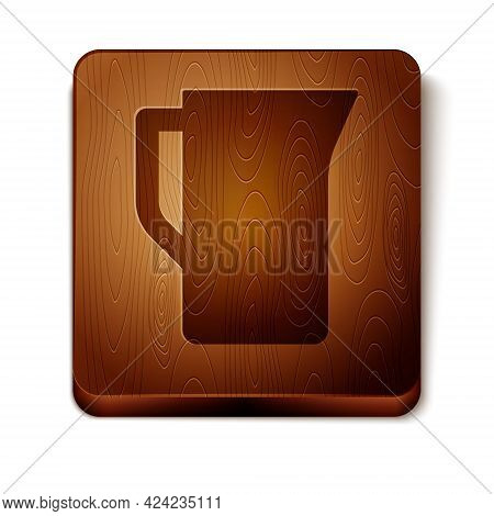 Brown Milk Jug Or Pitcher Icon Isolated On White Background. Wooden Square Button. Vector