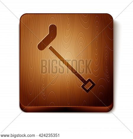 Brown Walking Stick Cane Icon Isolated On White Background. Wooden Square Button. Vector