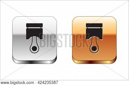 Black Engine Piston Icon Isolated On White Background. Car Engine Piston Sign. Silver And Gold Squar