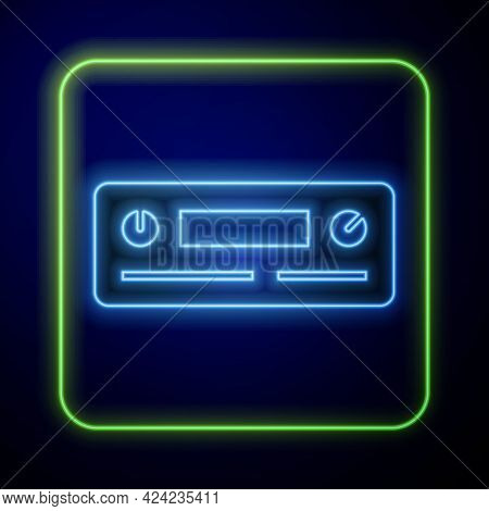 Glowing Neon Car Audio Icon Isolated On Blue Background. Fm Radio Car Audio Icon. Vector