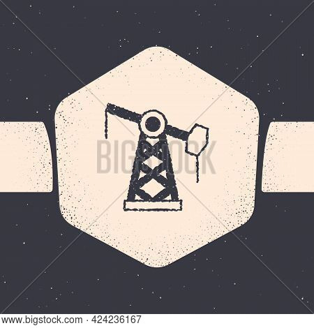 Grunge Oil Pump Or Pump Jack Icon Isolated On Grey Background. Oil Rig. Monochrome Vintage Drawing.