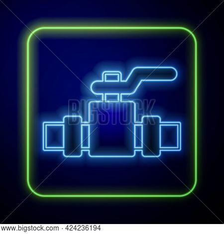 Glowing Neon Industry Metallic Pipes And Valve Icon Isolated On Blue Background. Vector