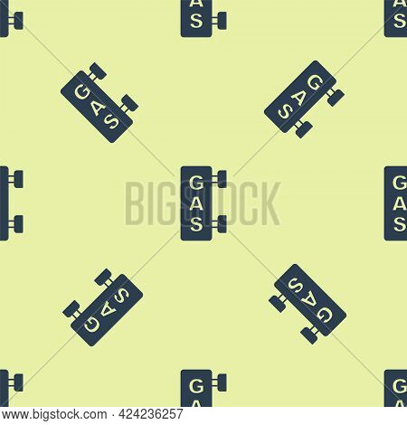 Blue Gas Filling Station Icon Isolated Seamless Pattern On Yellow Background. Transport Related Serv