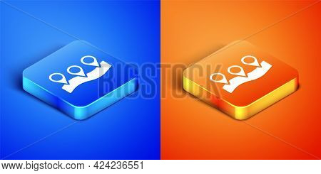 Isometric Map Pin Icon Isolated On Blue And Orange Background. Navigation, Pointer, Location, Map, G