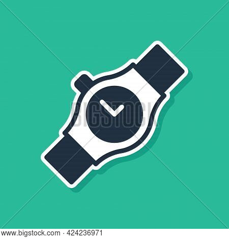 Blue Wrist Watch Icon Isolated On Green Background. Wristwatch Icon. Vector