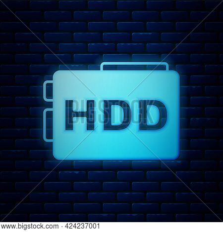 Glowing Neon Hard Disk Drive Hdd Icon Isolated On Brick Wall Background. Vector