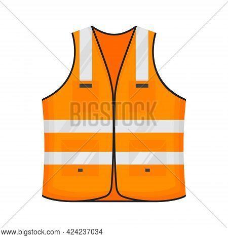 Safety Reflective Vest Icon Sign Flat Style Design Vector Illustration. Orange Fluorescent Security