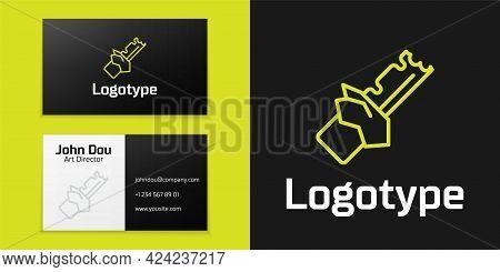 Logotype Line Bitten Chocolate Bar Icon Isolated On Black Background. Logo Design Template Element.