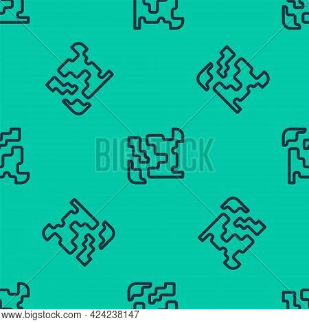 Blue Line Gaseous Icon Isolated Seamless Pattern On Green Background. Changing The State Of Matter I