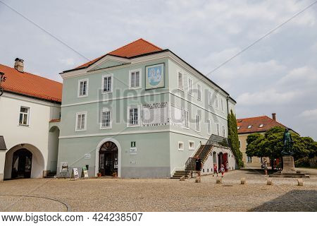 Former Meat Shops, Colorful Houses, Sunny Day, Renaissance And Baroque Historical Buildings, Sundial