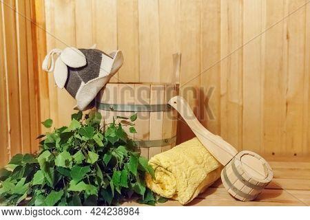 Interior Details Finnish Sauna Steam Room Bathhouse With Traditional Sauna Accessories Basin Birch B