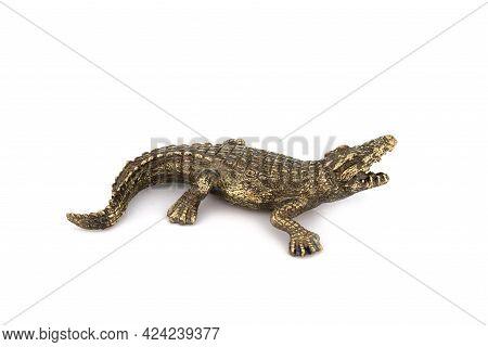 Crocodile Alligator Vintage Antique Grunge Bronze Brass Figurine Statue Of Beautiful Animal, Isolate