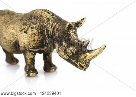Rhinoceros Vintage Antique Grunge Bronze Brass Figurine Statue Of Beautiful Animal, Isolated On Whit