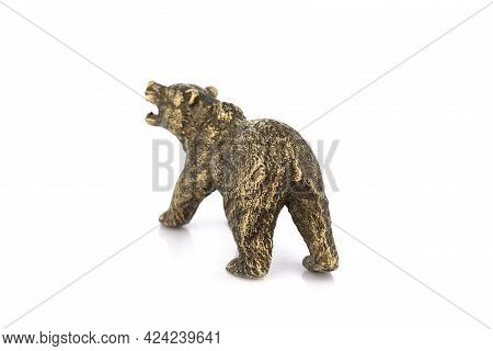 Bear Vintage Antique Grunge Bronze Brass Figurine Statue Of Beautiful Animal, Isolated On White Back