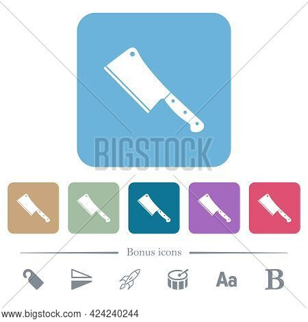 Meat Cleaver Knife White Flat Icons On Color Rounded Square Backgrounds. 6 Bonus Icons Included
